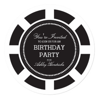 Black Poker Chip Birthday Party Invitation