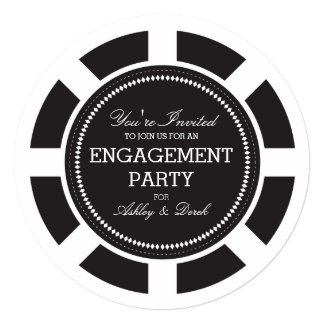 Black Poker Chip Engagement Party Invitation