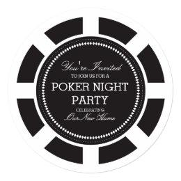 Black Poker Chip Game Night Party Invitation