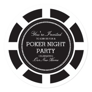 Black Poker Chip Game Night Party Invitation