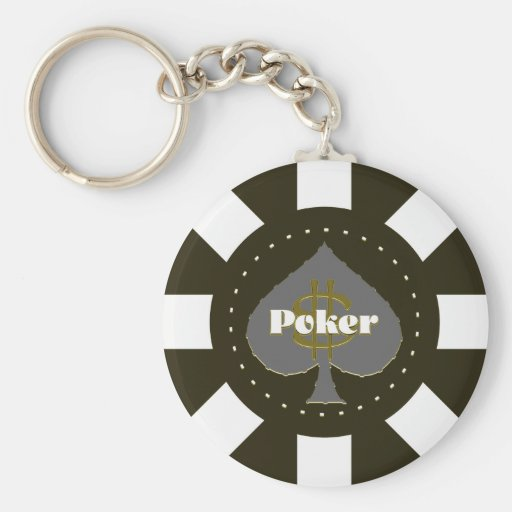 Black Poker Chip Keychain
