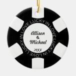 Black poker chip lucky in love couple photo vegas Double-Sided ceramic round christmas ornament