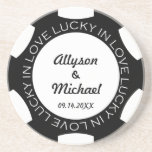 Black poker chip lucky in love wedding anniversary drink coaster
