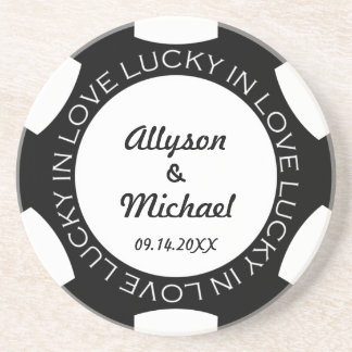 Black poker chip lucky in love wedding anniversary drink coaster