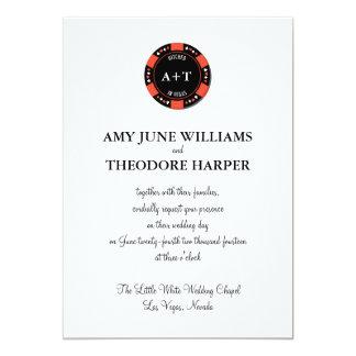 Black Poker Chip Monogram Vegas Wedding Invitation