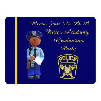Black Police Academy Graduation Party Invitation
