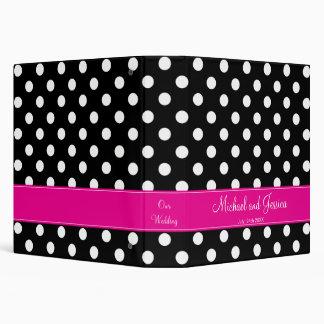 Black Polka Dot and Hot Pink Personalized Wedding 3 Ring Binder
