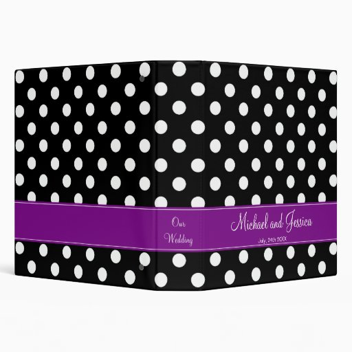 Black Polka Dot and Purple Personalized Wedding Vinyl Binder