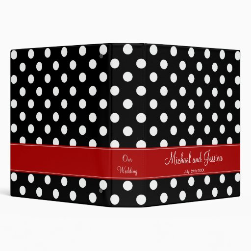Black Polka Dot and Red Personalized Wedding 3 Ring Binders