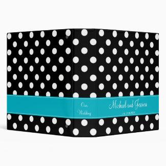 Black Polka Dot and Teal Personalized Wedding Binder