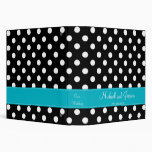Black Polka Dot and Teal Personalized Wedding Binders