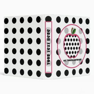 Black Polka Dot Apple Fashion Teacher Binder