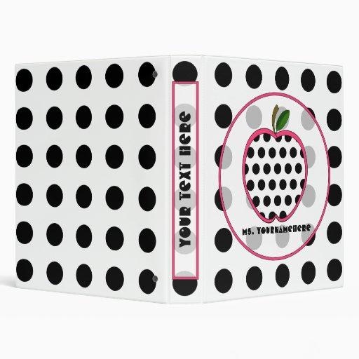 Black Polka Dot Apple Fashion Teacher Binder