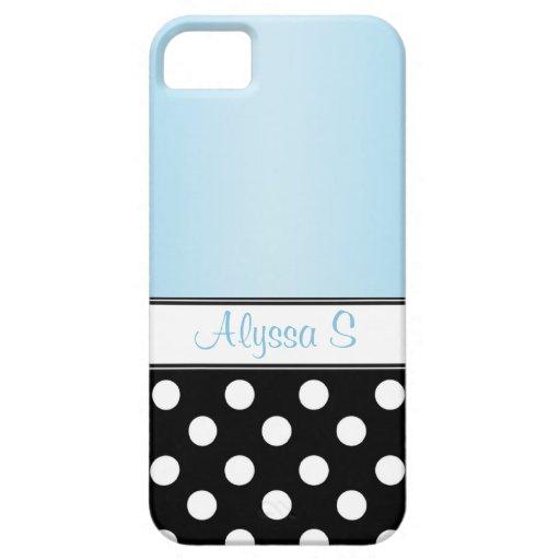Black Polka Dot Blue iPhone 5 Case