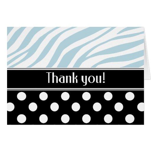 Black Polka Dot Blue Zebra Print Thank You card