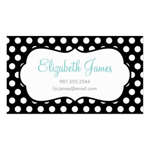 Black polka dot business card template zazzle for Polka dot business card templates free