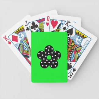 Black Polka Dot Flower on Green Background Bicycle Poker Deck
