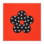 Black Polka Dot Flower on Orange Background Gallery Wrapped Canvas