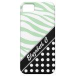 Black Polka Dot Green Zebra Print iPhone 5 Case