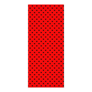Black Polka Dot Hearts on Red Background Card