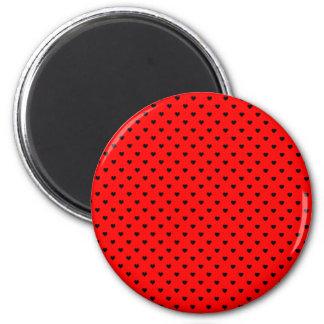 Black Polka Dot Hearts on Red Background Magnet