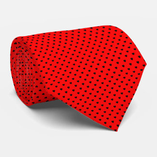Black Polka Dot Hearts on Red Background Tie