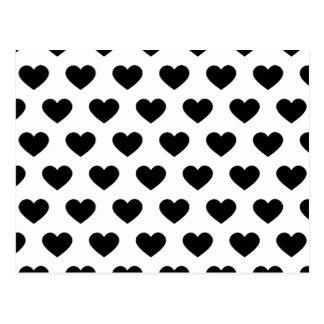 Black Polka Dot Hearts Postcard