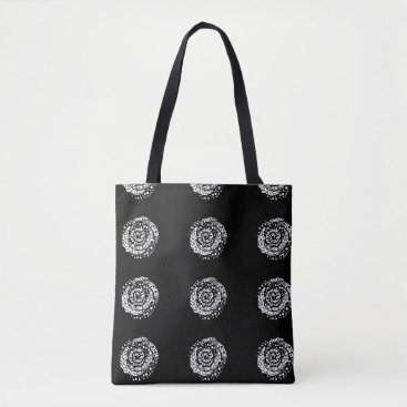 "Beach Themed Black 'Polka dot Madness"" roses tote"