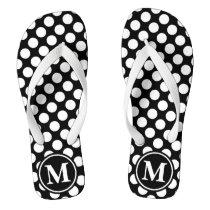 Black Polka Dot Monogrammed Flip Flops