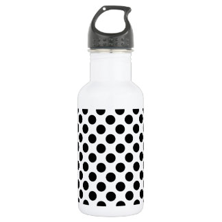 Black Polka Dot on White (Large) Stainless Steel Water Bottle