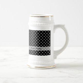 Black  polka dot pattern 18 oz beer stein