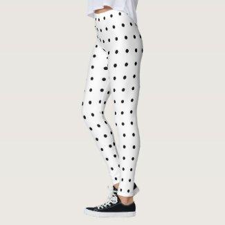 Black Polka Dot Pattern on White Leggings