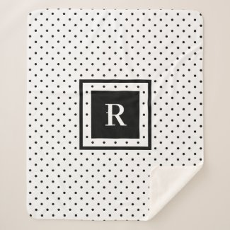 Black Polka Dot Pattern on White Modern Monogram Sherpa Blanket