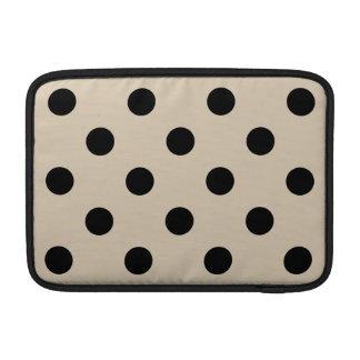 Black Polka Dot Pattern - Tan MacBook Air Sleeve
