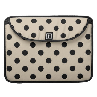 Black Polka Dot Pattern - Tan MacBook Pro Sleeve