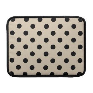 Black Polka Dot Pattern - Tan MacBook Sleeve
