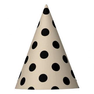 Black Polka Dot Pattern - Tan Party Hat
