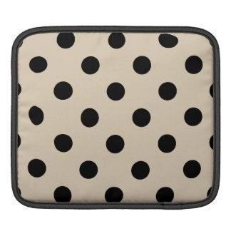 Black Polka Dot Pattern - Tan Sleeve For iPads