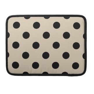 Black Polka Dot Pattern - Tan Sleeve For MacBook Pro