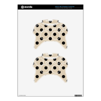 Black Polka Dot Pattern - Tan Xbox 360 Controller Decal