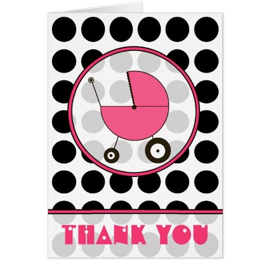 Black Polka Dot / Pink Baby Carriage Thank You Card