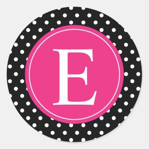 Black Polka Dot Pink Monogram Classic Round Sticker