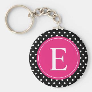 Black Polka Dot Pink Monogram Keychain