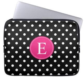 Black Polka Dot Pink Monogram Laptop Computer Sleeve