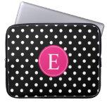 Black Polka Dot Pink Monogram Laptop Computer Sleeves