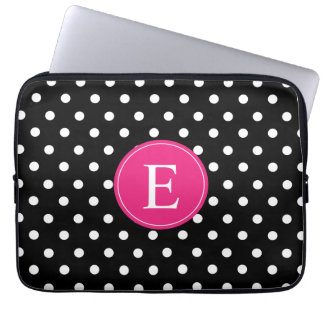 Black Polka Dot Pink Monogram Laptop Sleeve