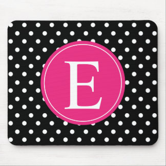 Black Polka Dot Pink Monogram Mouse Pad