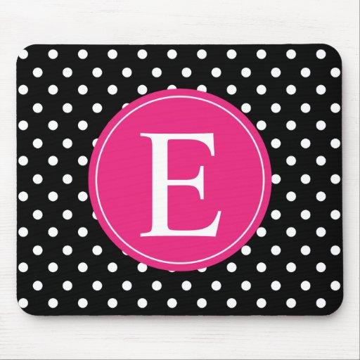 Black Polka Dot Pink Monogram Mousepads
