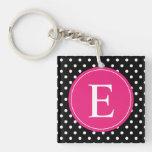 Black Polka Dot Pink Monogram Single-Sided Square Acrylic Keychain