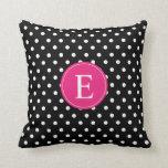Black Polka Dot Pink Monogram Throw Pillows